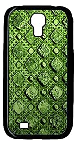 Samsung S4 Case, iCustomonline Green Squares Case For Samsung Galaxy S4 I9500 Black PC Sides