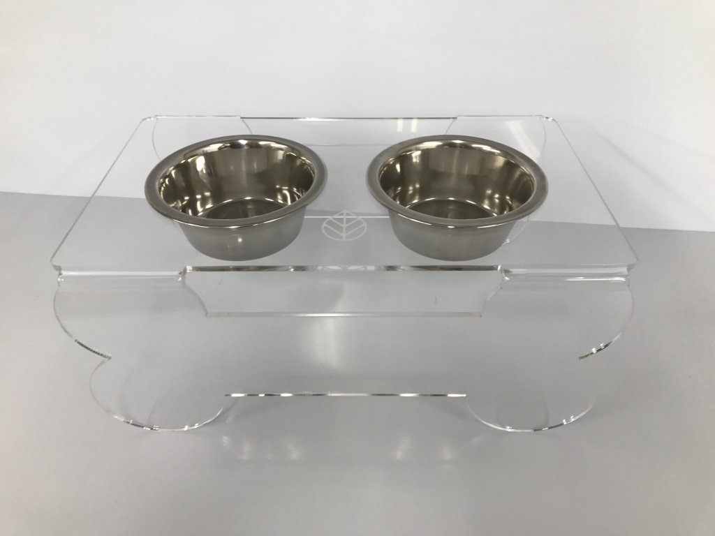 Spero Goods Ergonomic Elevated Dog Bowl Feeder Stand - Handcrafted in USA (clear acrylic, mini/small/medium sizes, with bowls) (Mini)