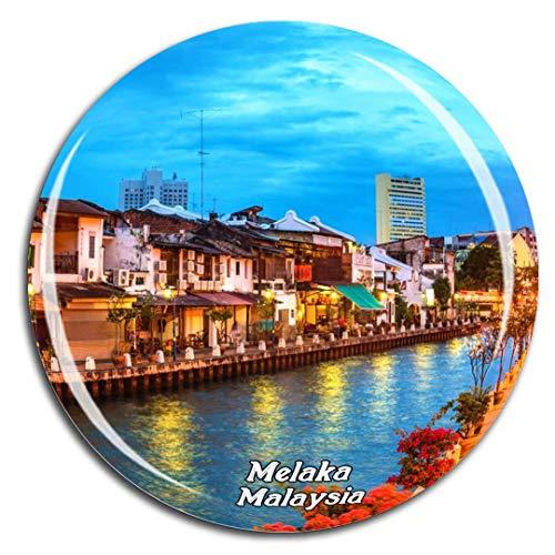 (Malacca River Melaka Malaysia Fridge Magnet 3D Crystal Glass Tourist City Travel Souvenir Collection Gift Strong Refrigerator Sticker)