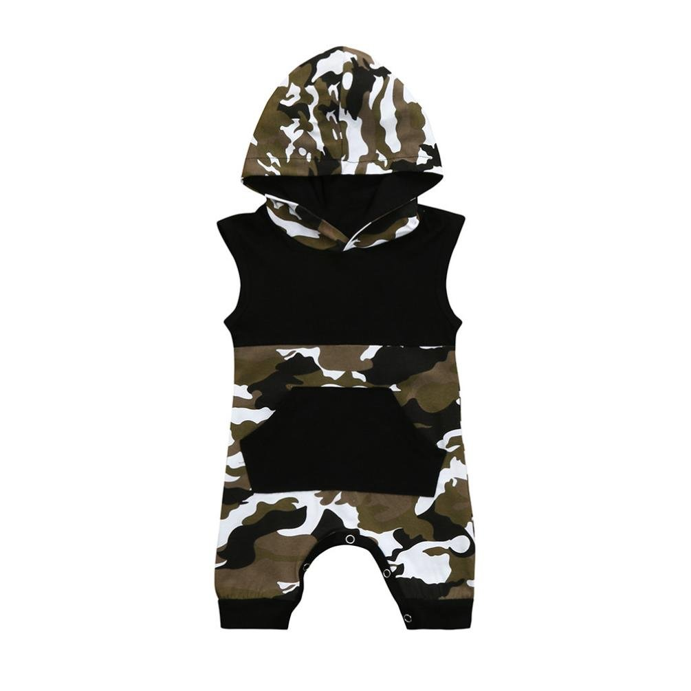 Baby Boys Summer Clothes, HEHEM Baby Clothes Toddler Newborn Baby Sleeveless Camouflage Hoodie Pocket Jumpsuit Romper Outfits Children's Clothing Baby Boy Outfits Tiny Baby Clothes Cheap Baby Clothes Baby Summer Clothes (0.5-3 year) (0-6 month, Black) Fas