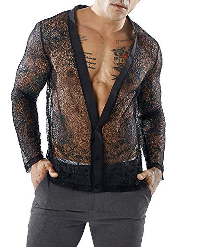 - HaoDong Mens Black Sexy Shirts See Through Undershirts Long Sleeve Blouse L
