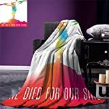 smallbeefly Quote Digital Printing Blanket Abstract on the Cross Scenery with Message of Inspiration Bible Catholic Faith Belief Summer Quilt Comforter Multicolor