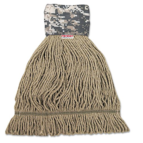 Boardwalk 8200M Patriot Looped End Wide Band Mop Head, Medium, Green/Brown (Case of 12) (End Looped Patriot)