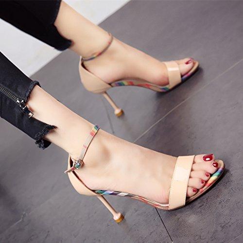 Naked Europeo Moda Banquete Estilo señoras' Talones Dedos color Sandalias YMFIE tacón Verano Alto Nuevo Parte de Temperamento tqvZU