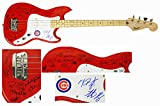 2016 Chicago Cubs Team Signed Fender Squier Red Bass Guitar (25 Sigs)