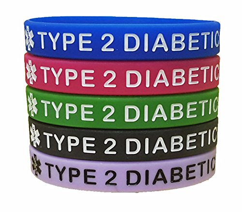 Best buy Type Diabetes Bracelets Silicone Medical Alert Wristbands( pack) Blue, Green, Red, Black and Purple. Adult