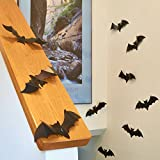 Prextex 9-Inch PVC Peel and Stick Spooky Bat Wall Stickers, Set of 18