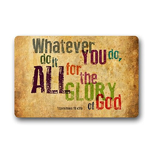 Crystal Emotion Custom Whatever You do,do it All for the Glory of God.1Corinthlans 10 v31b Christian Bible Quotes Doormat by Crystal Emotion