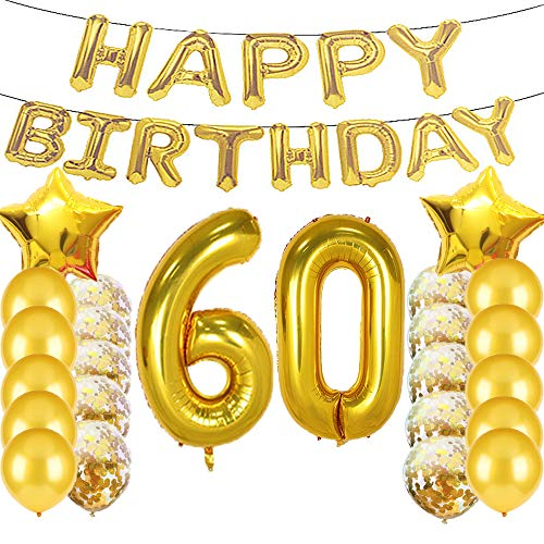 Sweet 60th Birthday Decorations Party Supplies,Gold Number 60 Balloons,60th Foil Mylar Balloons Latex Balloon Decoration,Great 60th Birthday Gifts for Girls,Women,Men,Photo - Birthday 60th Party Number