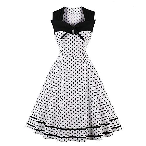 Sherostore ♡ Womens Polka Dot Dresses 50S Style Short Sleeves Rockabilly Vintage Dress Cocktail Party Swing Dresses White