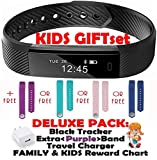Fitness Tracker for Kids Activity Trackers - Children Health Digital Smart Watch Jr Teen Bluetooth Step Calorie Counter Sleep Monitor Exercise Pedometer Alarm iOS Android (Purple Black 2 Band Gift)