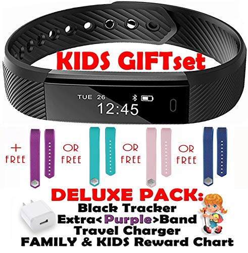 (Fitness Tracker for Kids Activity Trackers - Children Health Digital Smart Watch Jr Teen Bluetooth Step Calorie Counter Sleep Monitor Exercise Pedometer Alarm iOS Android (Purple Black 2 Band Gift))