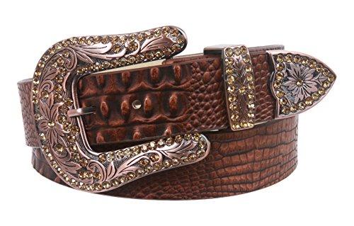 Snap On Western Crocodile Print Rhinestone Leather Belt Size: S/M - 32 Color: Brown