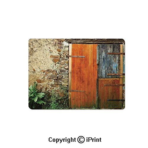 (Gaming Mouse Pad Custom,Old Fashion Country House French Entrance Stone Wall Farmhouse Picture Print Mouse Mat,Non-Slip Rubber Base Mousepad,7.9x9.5 inch,Brown Green)