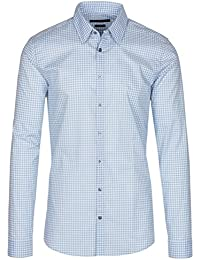 Mens Sky Blue Vichy Check Print Slim Fit Button Down Dress Shirt
