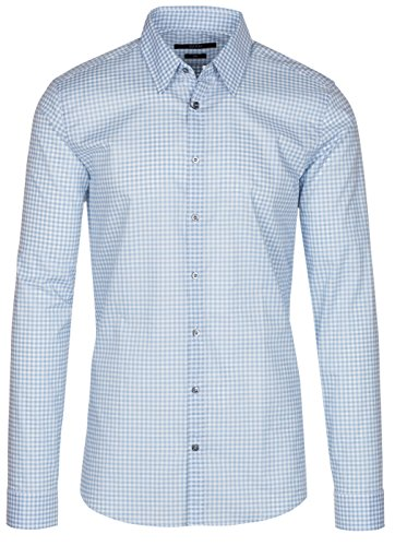 3a6dbb4e9 Gucci Men s Sky Blue Vichy Check Print Slim Fit Button Down Dress Shirt