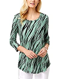 b40830e3336 Womens Printed 3/4 Sleeve Pullover Top · JM Collection