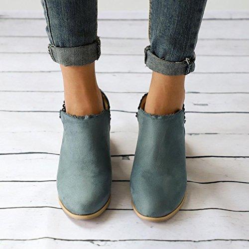 Bout Mi Long Mode Rond Unie Bleu Couleur Chaussures Courtes zahuihuiM Femmes Automne Bottes Classique YnpCwZq8Fx