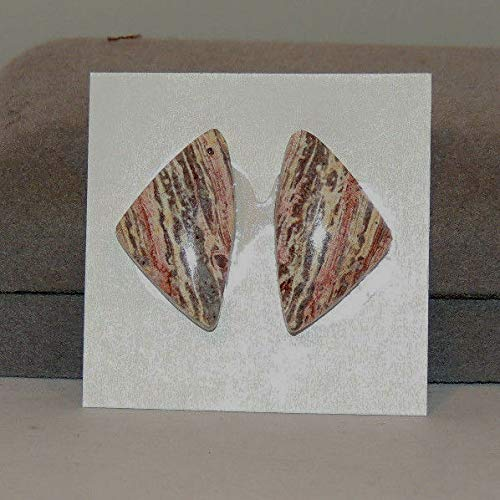Strata Jasper Set of 2 Cabochons 24.5x14mm from Mexico with 4.5mm Dome - Strata Jasper