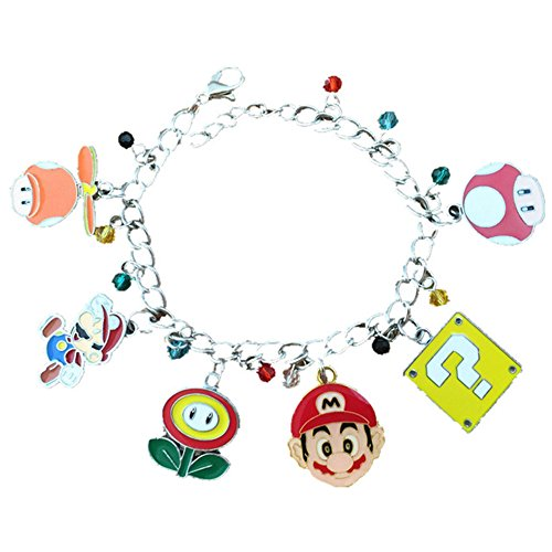 Cyclops And Jean Grey Costumes (Mario 6 Charms Lobster Clasp Bracelet in Gift Box by Superheroes)