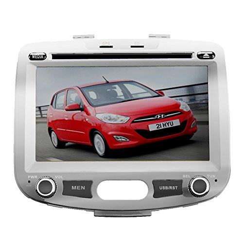 7 Inch Touch Screen Car GPS Navigation for Hyundai I10 Stereo DVD Player Video Radio Audio Bluetooth Steering Wheel Control AUX IN+Free Rear View Camera+Free GPS Map of USA For Sale
