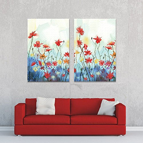 2 Panel Colorful Watercolor Style Flowers Gallery x 2 Panels
