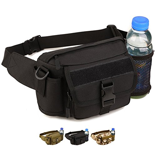 WOTOW Multi Functional Waist Pack, Military Single Shoulder Hip Belt Bag Fanny Packs Water Resistant Waist Bag Pouch Hiking Climbing Outdoor Bumbag with Water Bottle Pocket Holder