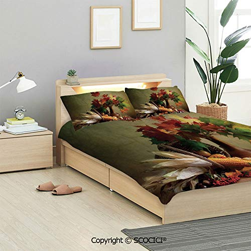 SCOCICI Harvest Bedding Sets 3 Pieces(1 Duvet Cover 2 Pillow Shams) Photograph from Death of The Nature Season Fall Vegetables and Leafs Wooden Table Duvet Cover Sets for Kids/Twin/Single All Seasons