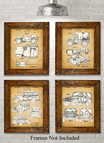 Original Jeep Patent Art Prints - Set of Four Photos (8x10) Unframed - Makes a Great Gift Under $20 for Jeep Drivers