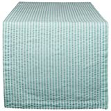DII Cotton Seersucker Striped Table Runner Dinning Room, Entryway Weddings, Parties Everyday Use, 14x108, Aqua Blue White