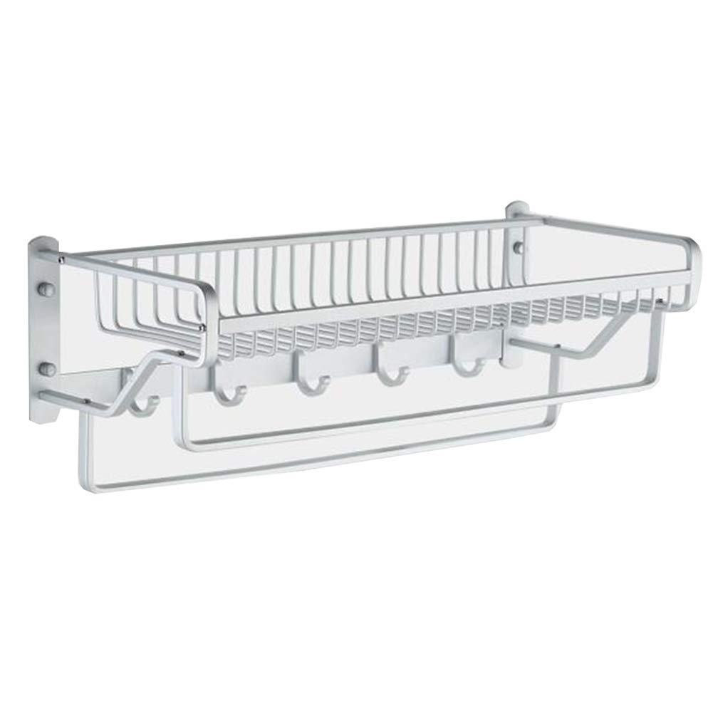 Tungchilan Bathroom Shelves Rack Silver Wall Mount Rec gle Bathroom Storage Waterproof Stable Space Aluminum Multifunctional Storage Box (Color : Silver, Size : 57x23x16cm)