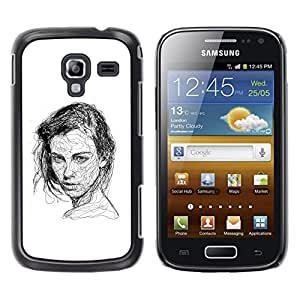 Paccase / SLIM PC / Aliminium Casa Carcasa Funda Case Cover - Girl Black White Pen Sketch Art Drawing - Samsung Galaxy Ace 2 I8160 Ace II X S7560M