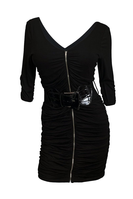 Amazon Evogues Plus Size Zipper Front Belt Accented Mini Dress