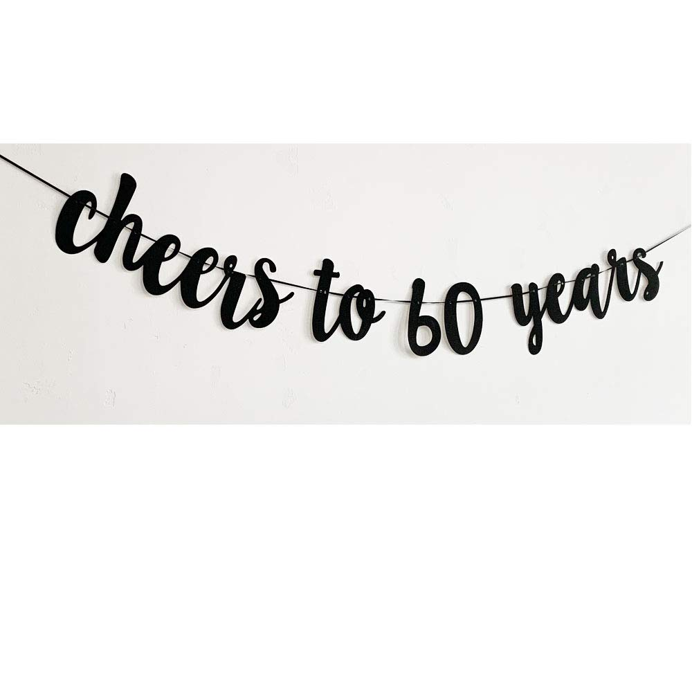 MAGQOO Cheers to 60 Years Banner Gold Glitter 60th Brithday Wedding Anniversary Party Decorations Photo Props with Two Garlands