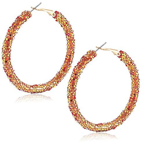 Urwomin Rhinestone Hoop Earrings for Women Handmade Bohemian Glitter Wrapped Hoop Dangle Earring Circular Shiny Sequins Beach Earrings (Red)