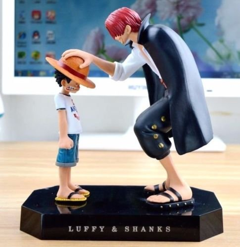 (One Piece action figures Anime Straw Hat Luffy Shanks red hair ornaments gift doll toys 17.5cm child luffy models pvc)