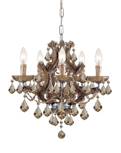 Crystorama Golden Teak Strass Crystal - Crystorama Maria Theresa 4405 6 Light Chandelier - Antique Brass - Golden Teak Swarovski Strass Crystal