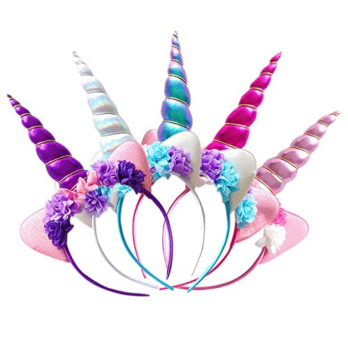 Zeekoo Unicorn Party Supplies Set,Baby Unicorn Horn Headband Rose Flower Hairband Animal Photo Props with Glitter Ears,Unicorn Birthday Cosplay for Girls Children Gift Halloween Party Costume(5 Pa