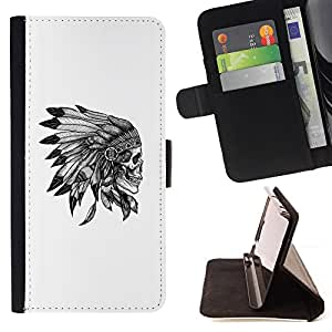 - Queen Pattern FOR HTC One M7 /La identificaci????n del cr????dito ranuras para tarjetas tir????n de la caja Cartera de cuero cubie - skull feather headgear native American -