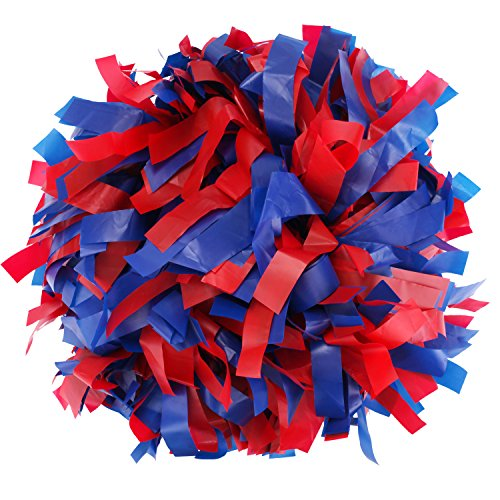 ICObuty Plastic Cheerleader Cheerleading Pom Pom 6 inch 1 Pair (Red-Royal Blue) ()