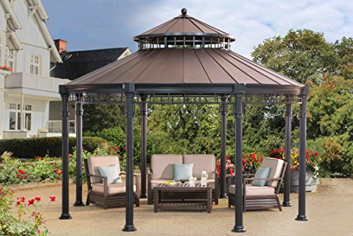 sunjoy younge round gazebo 14 39 x 14 39 faux copper top gazebos patio and furniture. Black Bedroom Furniture Sets. Home Design Ideas