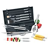 Chefmaster 19pc All Stainless Barbeque Set Surgical Stainless Steel Implements Long Handle Tools
