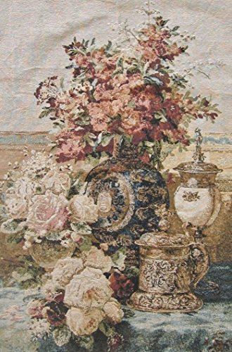 DaDa Bedding Antique Royalty French Rococo Floral Vase Roses Motif Tapestry Wall Hanging Décor - 28