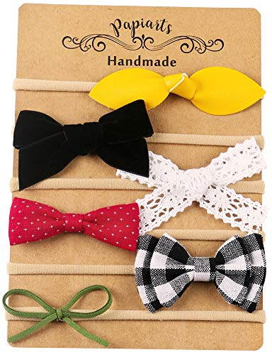 Nylon Baby Hair Bows, Baby Girl Headbands Set, Assorted 6 Packs of Hair Accessories for Newborn Toddler Girls]()