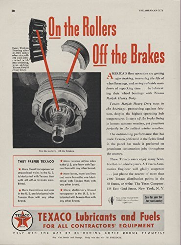 1942 Ad Texaco Lubricants Fuels for Contractors Equipment Marfak Timken Bearing Photo Safer Breaking - Original Vintage Advertising