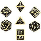 Q Workshop Q-Workshop Polyhedral 7-Die Set: Carved Dwarven Dice Set - Beige & Black