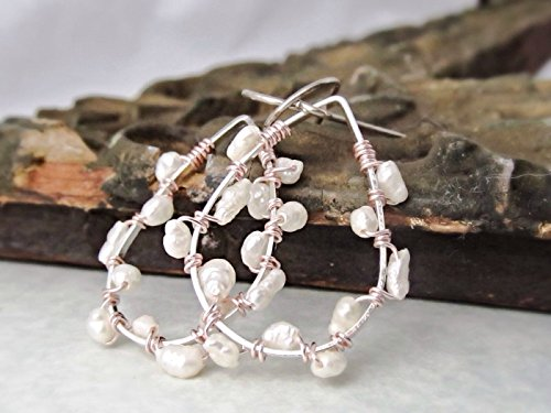 2 Inch Long Silver Cream White Baroque Freshwater Cultured Pearl Hoop Earrings with Rose Gold Tone Mixed Metal Accents.