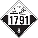 Labelmaster ZEZ41791 UN 1791 Corrosive Hazmat Placard, E-Z Removable Vinyl (Pack of 25)