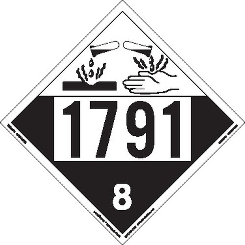 Labelmaster ZEZ41791 UN 1791 Corrosive Hazmat Placard, E-Z Removable Vinyl (Pack of 25)