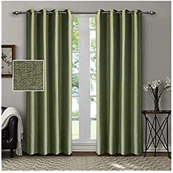 SINGINGLORY Green Room Darkening Curtains for Living Room/Bedroom, 2 Panels Linen Textured Grommet Curtains 52 x 84 Inch Blackout Window Curtains (Green)